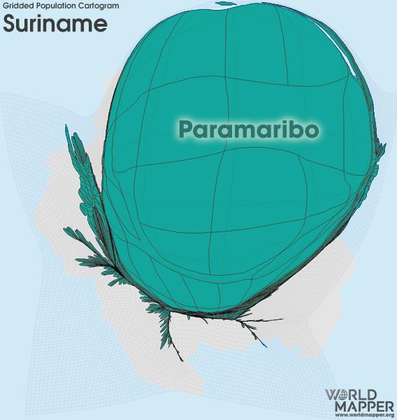 Gridded Population Cartogram Suriname