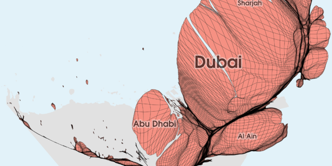 Gridded Population Cartogram United Arab Emirates
