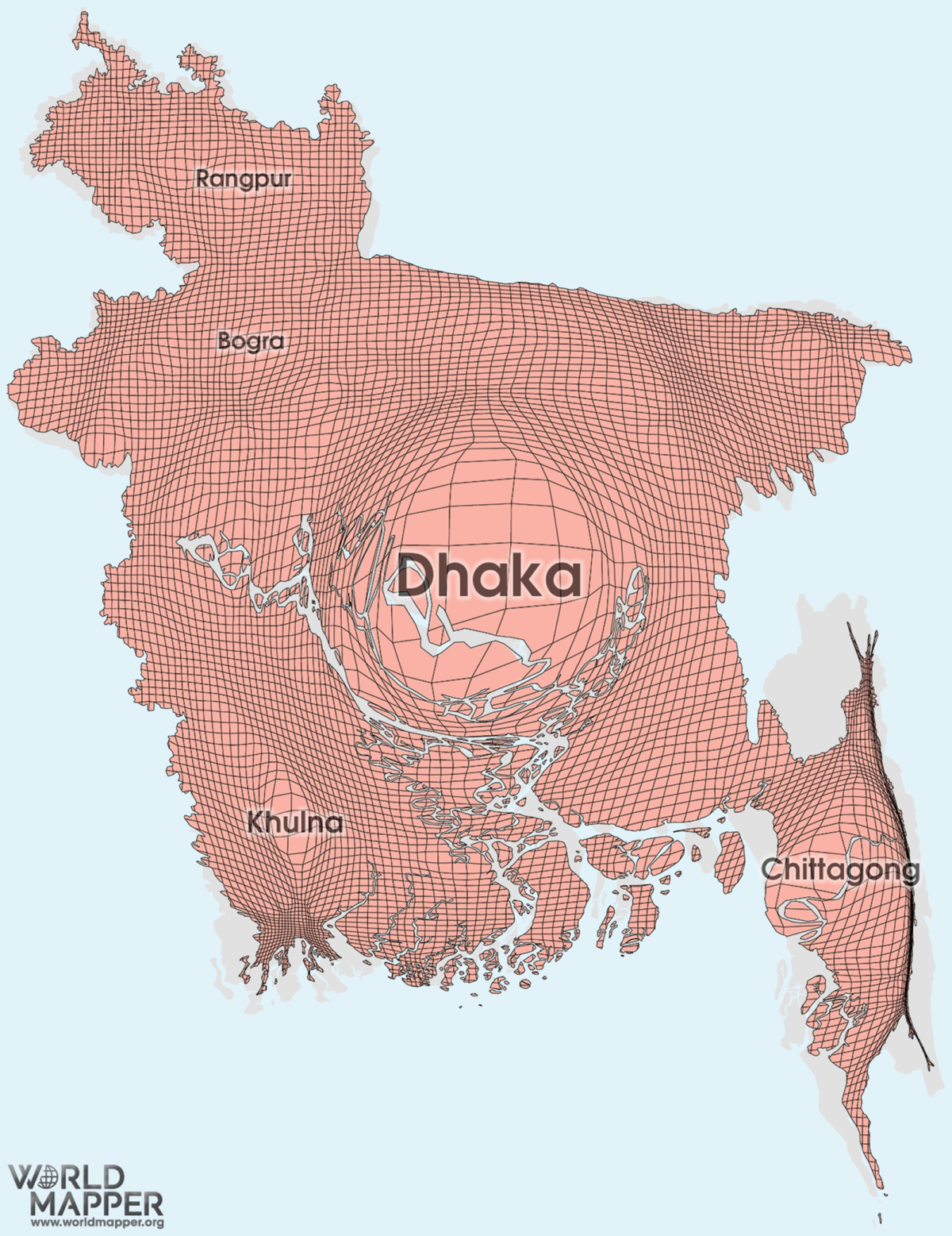 Bangladesh Gridded Population Cartogram