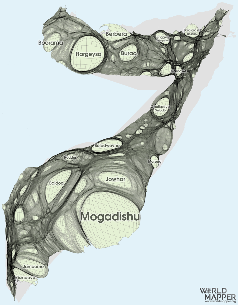 Somalia Gridded Population Cartogram