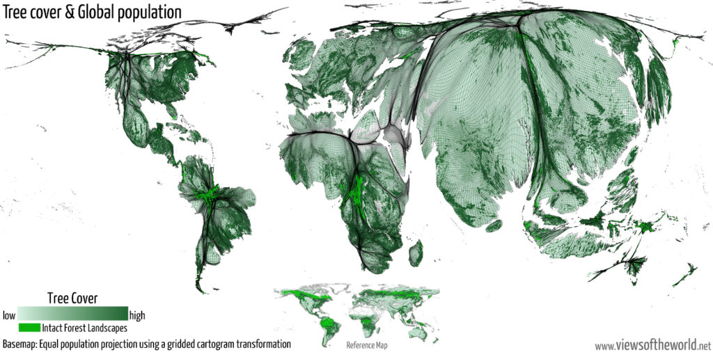 Gridded population cartogram showing tree cover density proportional to the global distribution of people