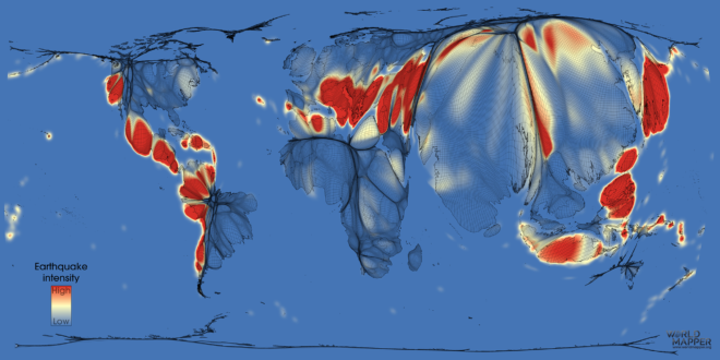 Earthquake risk gridded population cartogram