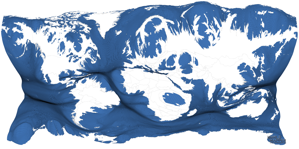 Ocean Chlorophyll gridded cartogram