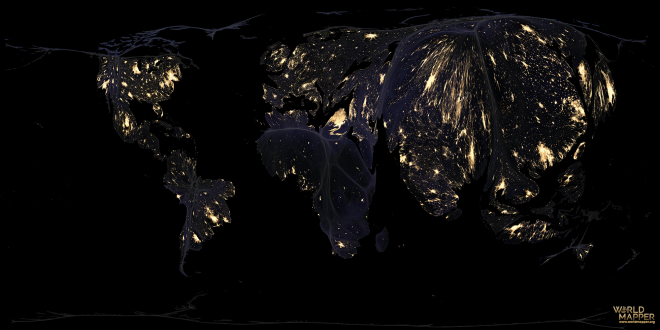 Earth at night gridded population cartogram