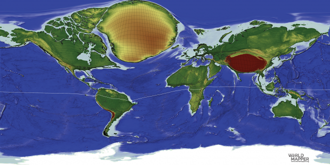 Global remoteness gridded cartogram