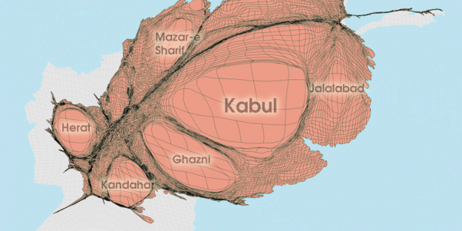 Gridded Population Cartogram Afghanistan