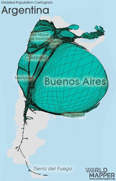 Gridded Population Cartogram Argentina