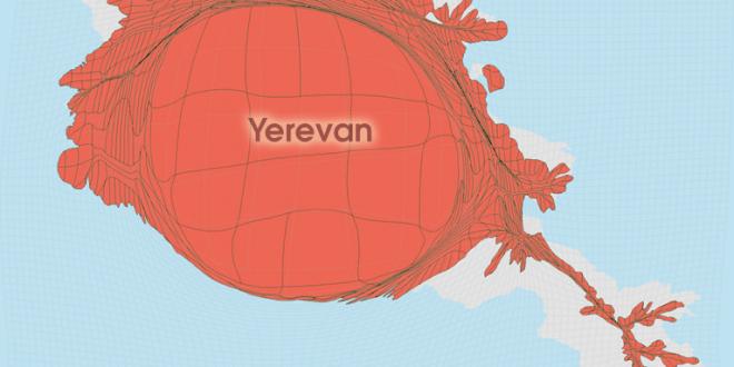 Gridded Population Cartogram Armenia