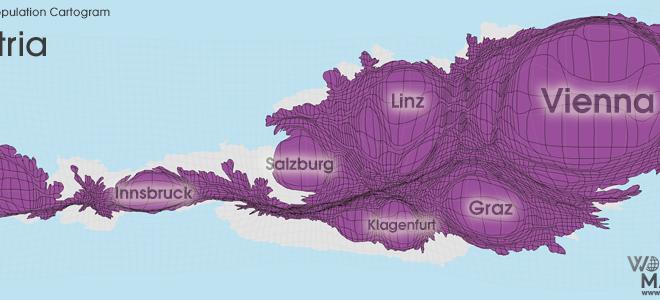 Gridded Population Cartogram Austria