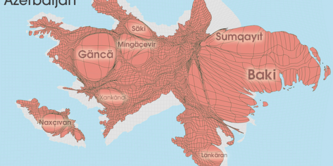 Gridded Population Cartogram Azerbaijan