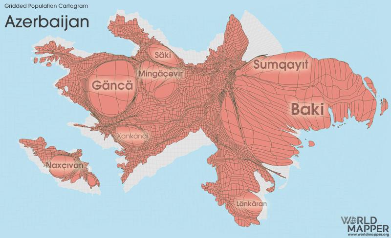 Gridded Population Cartogram Azerbaijan