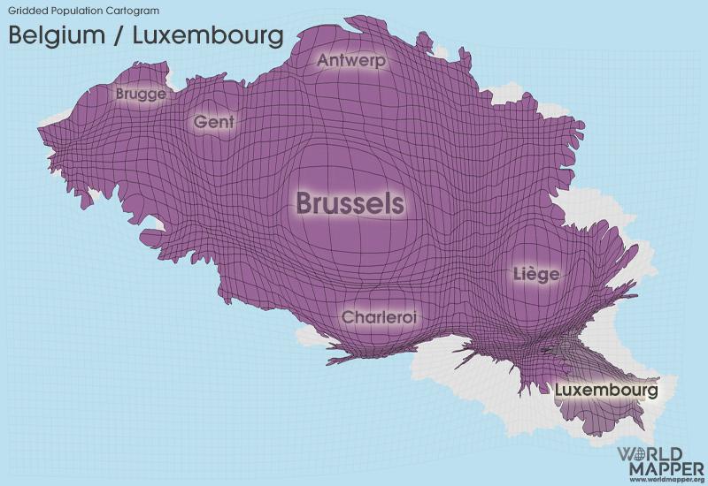 Gridded Population Cartogram Belgium / Luxembourg