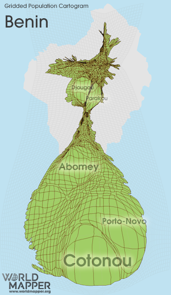 Gridded Population Cartogram Benin