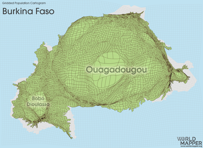 Gridded Population Cartogram Burkina Faso