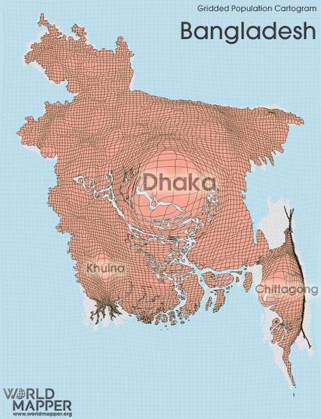 Bangladesh gridded population worldmapper gridded population cartogram bangladesh gumiabroncs Image collections