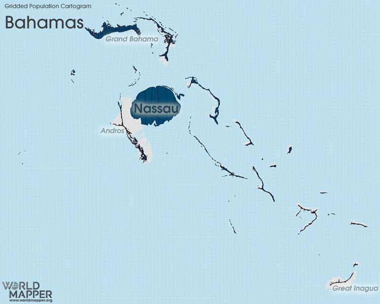 Gridded Population Cartogram The Bahamas