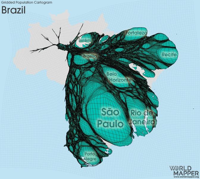 Gridded Population Cartogram Brazil