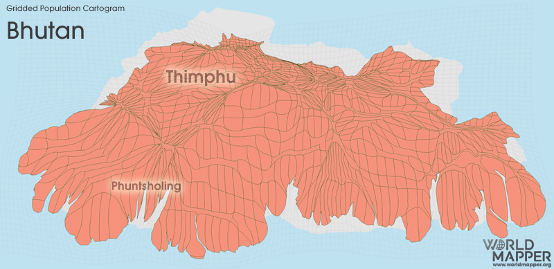 Gridded Population Cartogram Bhutan