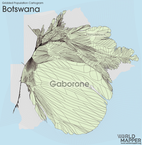 Gridded Population Cartogram Botswana