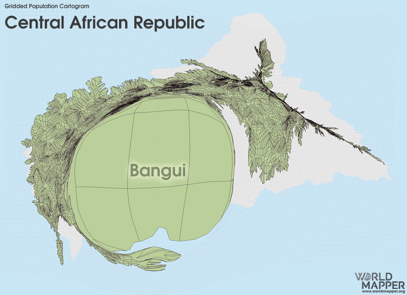 Gridded Population Cartogram Central African Republic