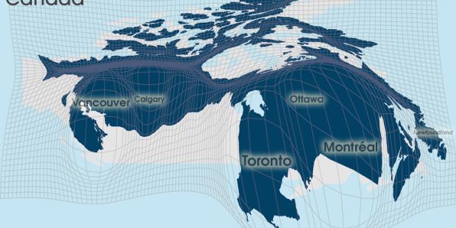 Gridded Population Cartogram Canada