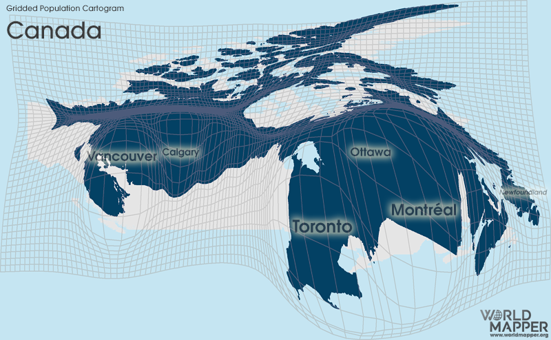 Gridded Population Cartogram Canada