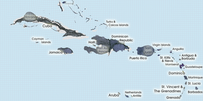 Gridded Population Cartogram The Caribbean