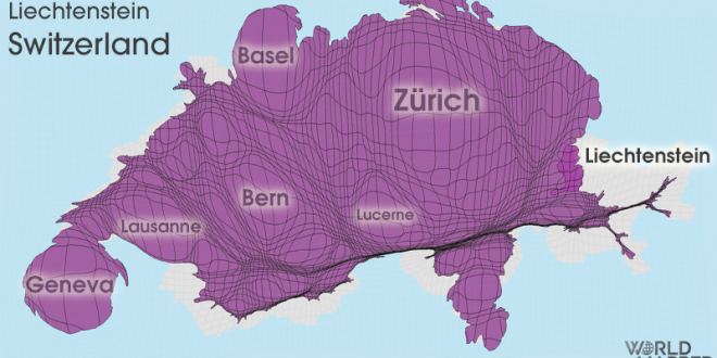 Gridded Population Cartogram Switzerland / Liechtenstein
