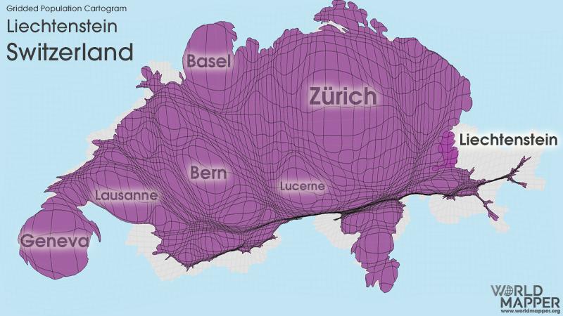 Gridded Population Cartogram Switzerland / Liechtenstein