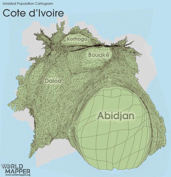 Gridded Population Cartogram Cote d'Ivoire (Ivory Coast)