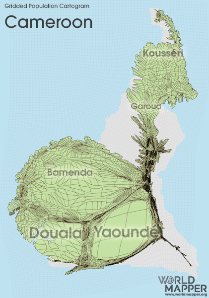 Gridded Population Cartogram Cameroon