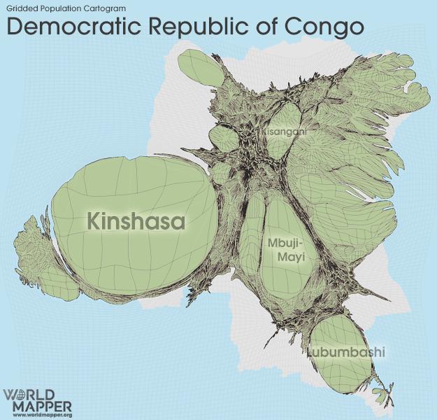 Democratic Republic of the Congo Gridded Potion | Worldmapper on