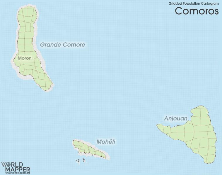 Gridded Population Cartogram Comoros