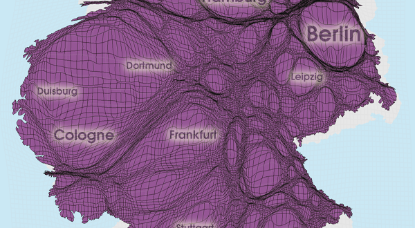 Gridded Population Cartogram Germany