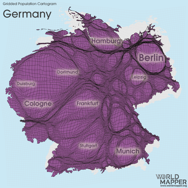 Gridded Population Cartogram Germany