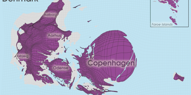Gridded Population Cartogram Denmark / Faroe Islands