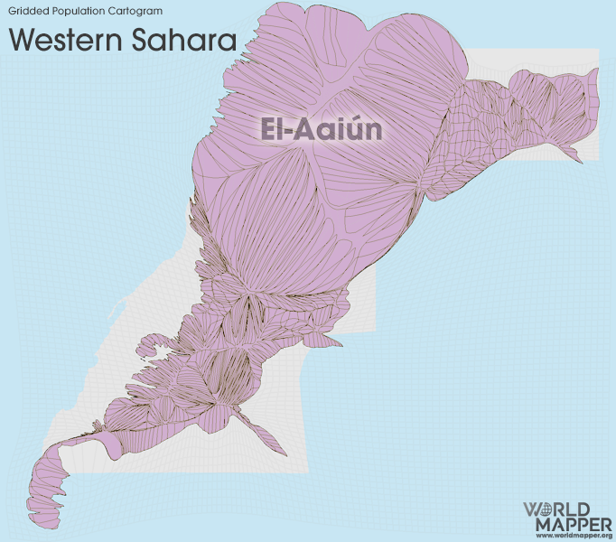 Gridded Population Cartogram Western Sahara