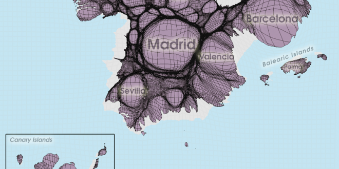 Gridded Population Cartogram Spain