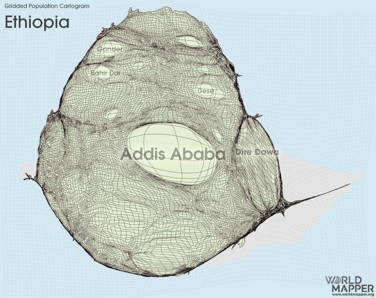 Gridded Population Cartogram Ethiopia