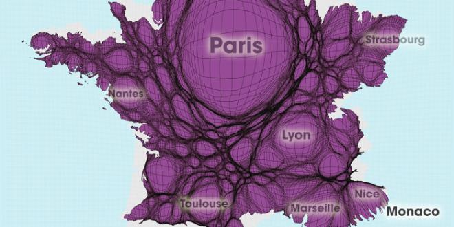 Gridded Population Cartogram France / Andorra / Monaco