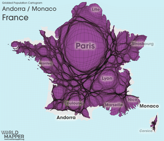 Gridded Population Cartogram France / Andorra / Monaco