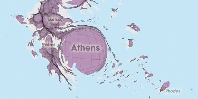 Gridded Population Cartogram Greece