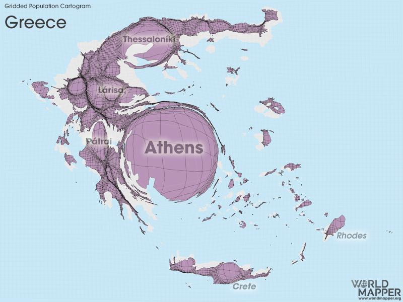 Gridded Population Cartogram Greece