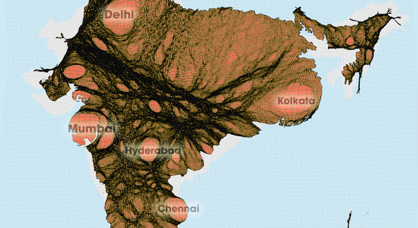 Gridded Population Cartogram India