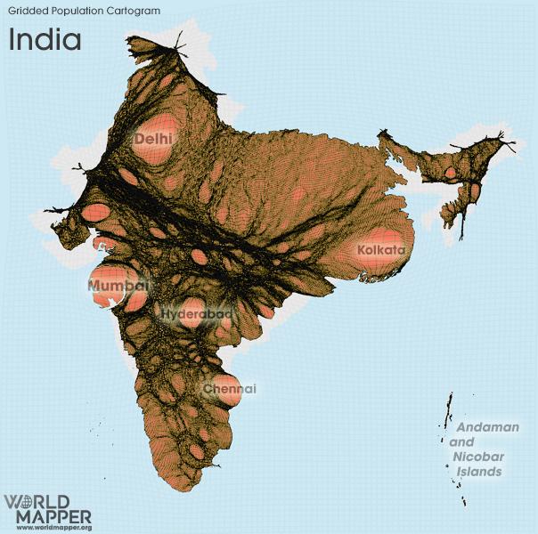 Gridded Population Cartogram India