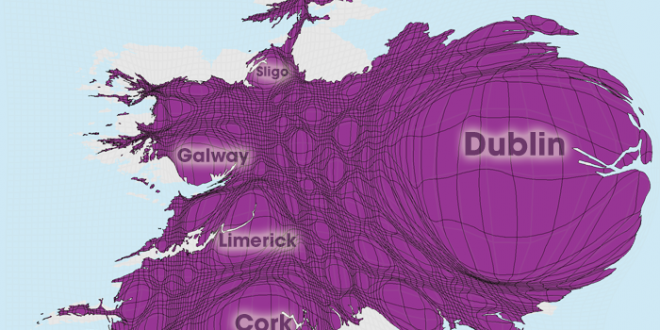 Gridded Population Cartogram Ireland