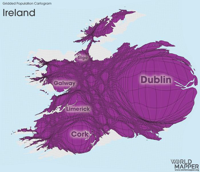 Gridded Population Cartogram Ireland