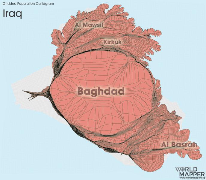 Gridded Population Cartogram Iraq