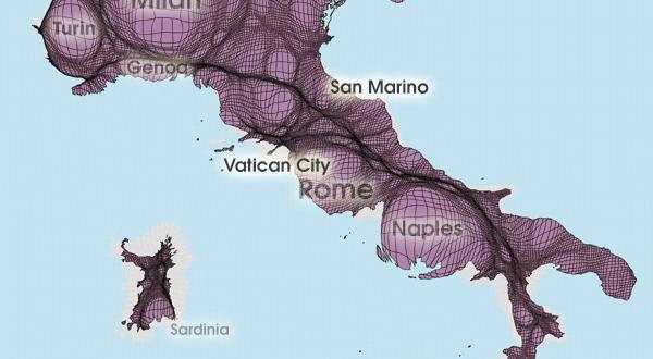Gridded Population Cartogram Italy / San Marino / Vatican