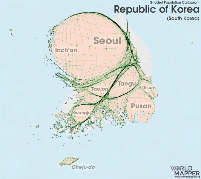 Republic Of Korea Gridded Population